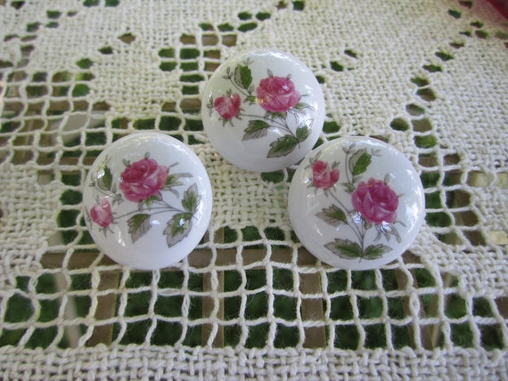 Porcelain Rose Knobs