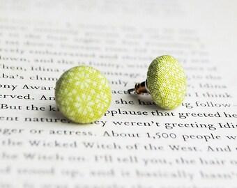 Green Floral Button Earrings, Nickel Free