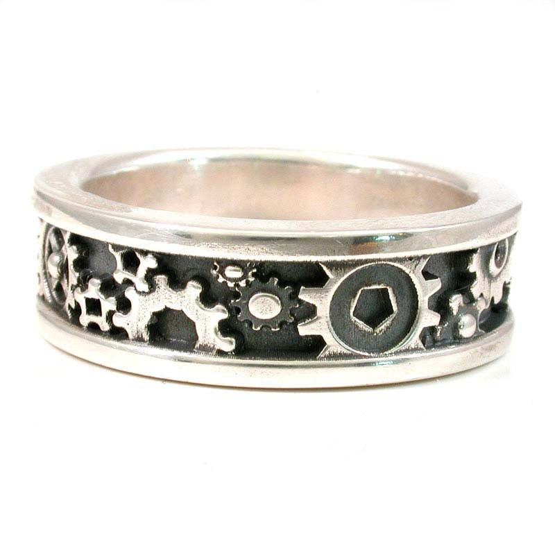 mens steunk gear ring sterling silver