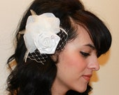 White Flower Rosette with Rose Petals and Hackle Feathers Boutique Hair Clip Fascinator Photp Prop