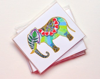 ART CARDS - Love Elephant - India Inspired Exotic Art Greetings- Limited Edition