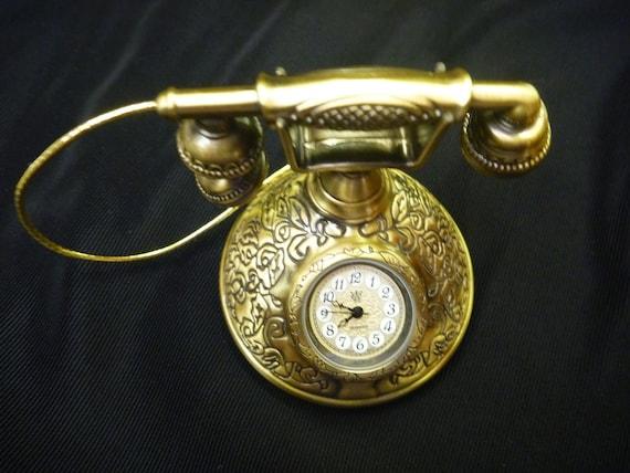 Vintage Antique 1980's MINIATURE TELEPHONE CLOCK