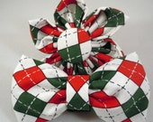 Christmas Dog Flower or Bow Tie - Christmas Argyle - All Sizes