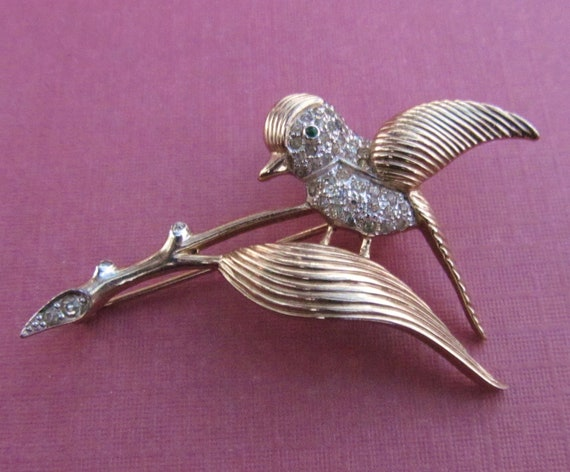 Antique Bird Brooch Gold Washed Sterling Silver With Rhinestones Circa 1940