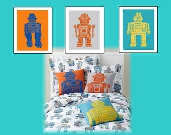 "Robot Nursery Wall Art // Robot Nursery Decor // Robot Art Prints // Robot Wall Art // Robot Decor// Art for Boys Room// 3-8x10"" PRINTS ONLY"