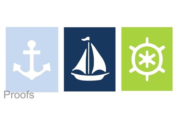 Nautical Nursery Art // Nautical Wall Art // Nautical Art for Kids // Nautical Decor // Bathroom Art // Sailboat Art // 3-8x10 PRINTS ONLY