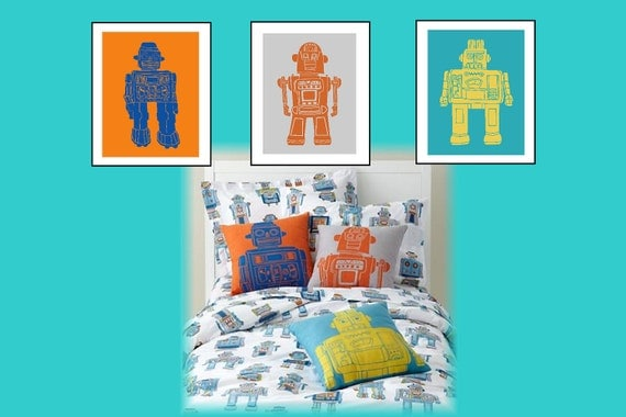 Robot nursery wall art robot nursery decor robot art for Robot room decor