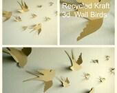 3d Paper Wall Birds, 3d Wall Art, Nursery Wall Art, Whimsical Nursery Decor, Wedding Bird Decor, DIY Bird Mobile, Gift Packaging