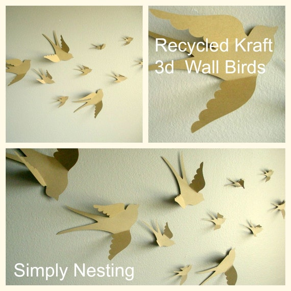 3d paper wall birds 3d wall art nursery wall art by simplynesting. Black Bedroom Furniture Sets. Home Design Ideas