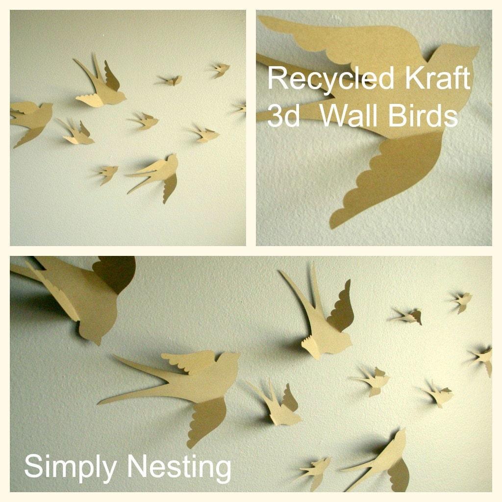 3d Wall Decor Birds : D paper wall birds art nursery by