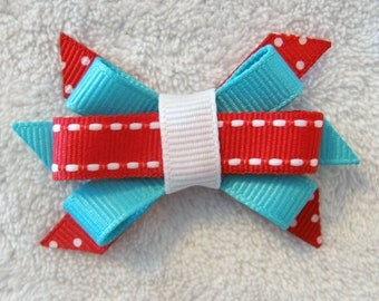 Red and Turquoise Grosgrain Ribbon Itty Bitty Bow