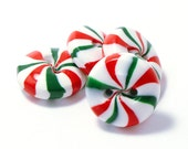 Polymer clay buttons red green white peppermint candies set of four