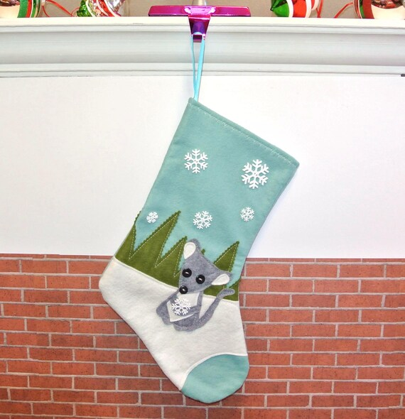 Mouse Christmas Stocking in Aqua Blue by Allenbrite Studio