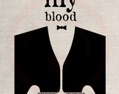 Clip Art Design Transfer Digital File Vintage Download DIY Scrapbook Shabby Chic Pillow Drink my blood Vampire art No. 0441