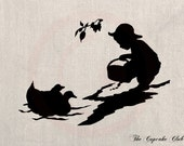 Custom Clip Art Design Transfer Digital File Vintage Download DIY Scrapbook Shabby Chic Pillow Silhouette Children Duck Lake No. 0552
