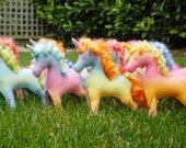 A pair of Hand dyed Waldorf Steiner Felt Unicorn Toys NOVEMBER CUSTOM order for YOU