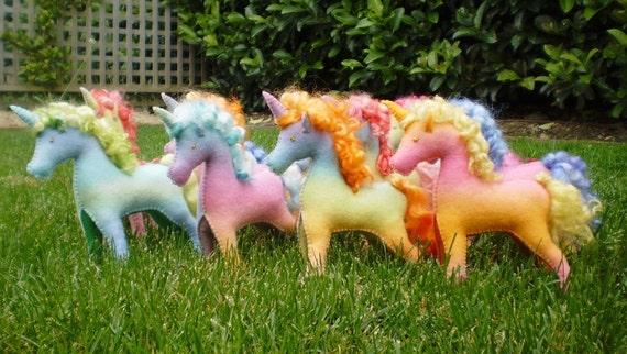 A pair of Hand dyed Waldorf Steiner Felt Unicorn Toys NOVEMBER CUSTOM order for YOU