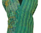 Vintage Kantha Style Dupatta Recycled Silk Used Fabric Indian Craft Scarf Women Wrap - QD257