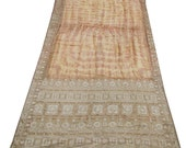 Vintage Pure Silk Saree Thread Weaving Dress Used Craft Deco Fabric Women Wrap Recycled Sewing -PS1083