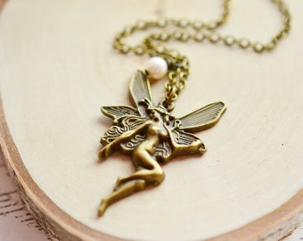 Whimsical Fairy Necklace,Fantasy, Charm Necklace, Brass Pendant, Whimsical Jewelry, Magic,Angel Fairy,Woodland Jewelry, Freshwater Pearl