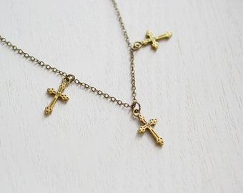Cross Necklace, Charm Necklace, Cluster Necklace, Cross Pendant, Small Dainty Cross, Simple Necklace, Modern, Christian,Minimalist,Everyday