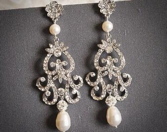 FABIONA, Victorian Style Chandelier Wedding Earrings, White Ivory Champagne Pearl & Rhinestone Bridal Earrings, Flower Dangle Stud Earrings