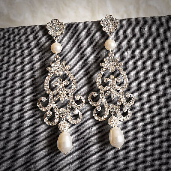 FABIONA, Victorian Style Chandelier Wedding Earrings, Ivory or White Pearl and Rhinestone Bridal Earrings, Flower Dangle Stud Earrings