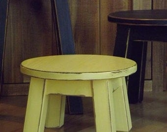 """Reclaimed wood/ shabby chic/ round stool/ step stool/ foot stool/ riser/painted/ yellow/ 8"""" -10""""H"""