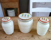 Anchor Hocking Fire King Ivory Range Set with Tulip design - Grease Jar with Salt & Pepper Shakers - Rare Complete Set - SALE