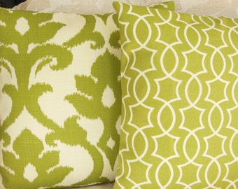 Kiwi Green OUTDOOR Throw Pillows Cushion Covers Decorative Pillows Two Kiwi Green 18x18 Couch Pillow