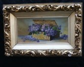 Vintage Still Life Oil Painting Violets in a Basket late 1880's
