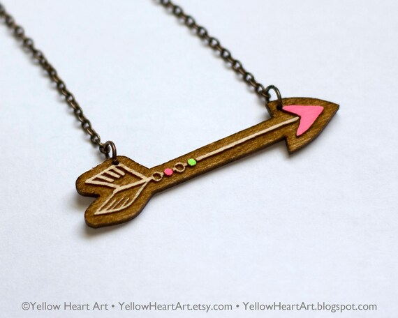 50% off - Neon Pink and Neon Green Arrow Wood Necklace Original Artwork by Yellow Heart Art