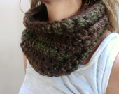 Chunky Cowl Chunky Infinity Scarf Brown Crochet Infinity Scarf Wool Neck Warmer- Sister in Law, Gift Ideas Autumn Apparel