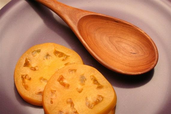 wood spoon handmade from cherry wood