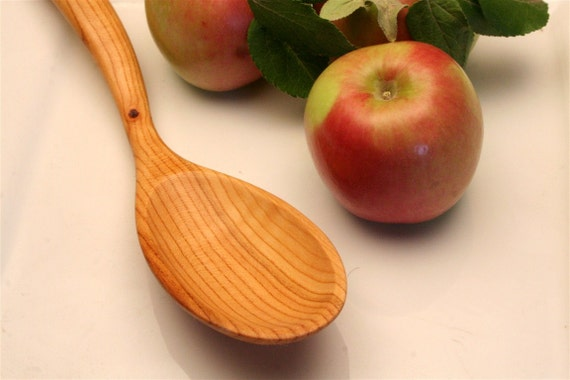 Curvy wooden spoon for stirring your sauce of salvaged plum wood