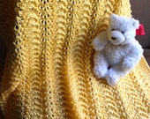 Bright Yellow Hand Knit Baby Blanket / Afghan