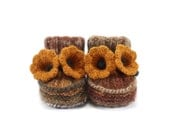 Hand Knitted Baby Booties with Crochet Bell Flowers - Autumn Colors, 6 - 9 months