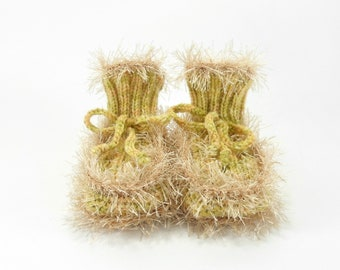 Hand Knitted Baby Booties - Beige Green, 0 - 3 months