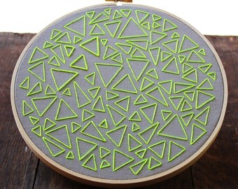 Neon Green on Gray-- Triangle Traffic Hand Embroidery