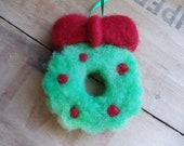 Wooly Green and Red Christmas Wreath Ornament Needle Felted Christmas Decor