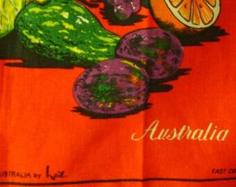 Vintage Tropical Fruits Souvenir Pure Linen Tea Towel From Australia