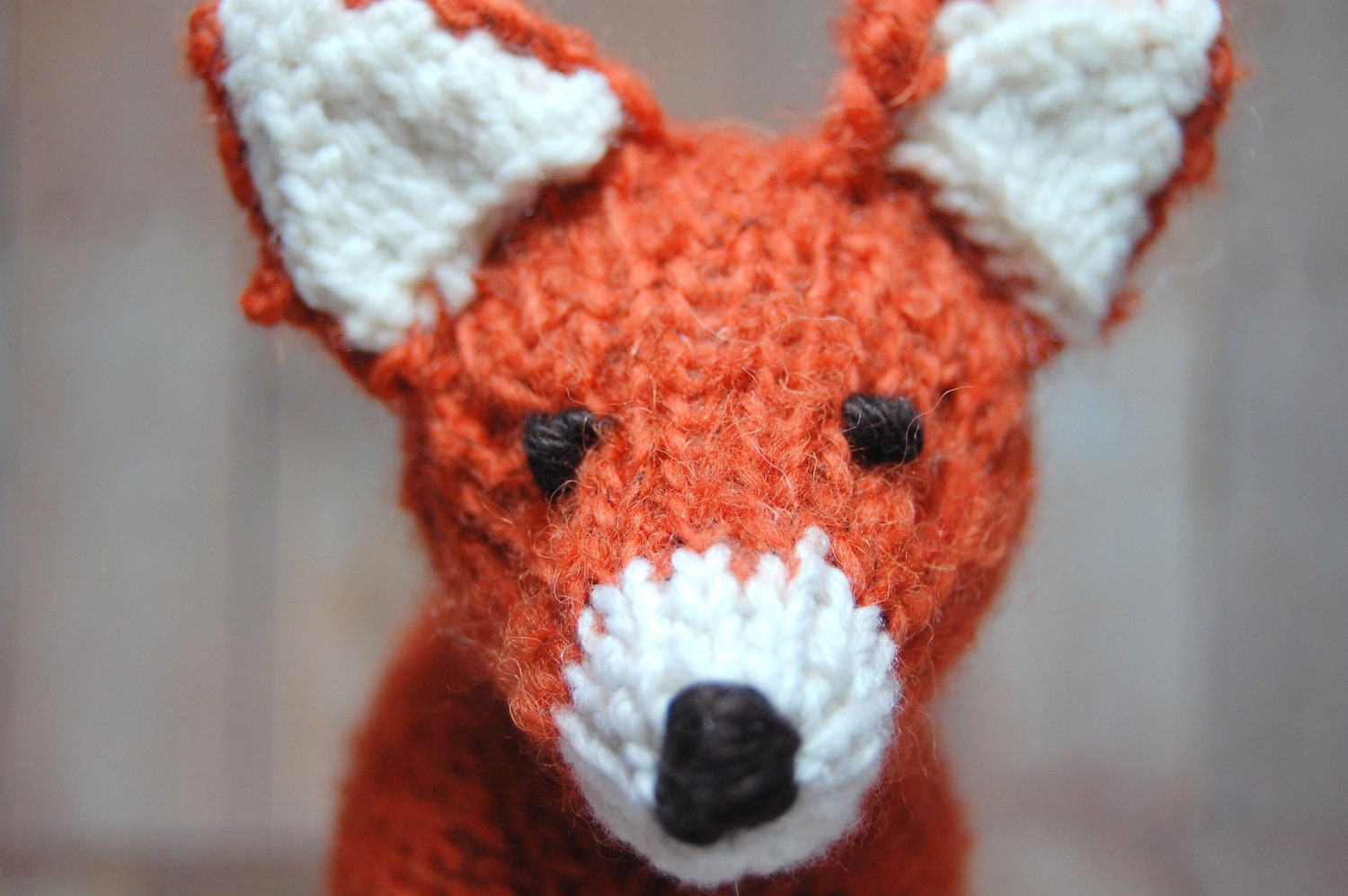 Large Knit Fox Waldorf Stuffed Woodland Animal Toy for