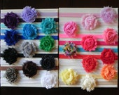 YOU PICK 5 Colors of Shabby Chic Flower Rose Headbands Set. Elastic baby headbands. Photography prop