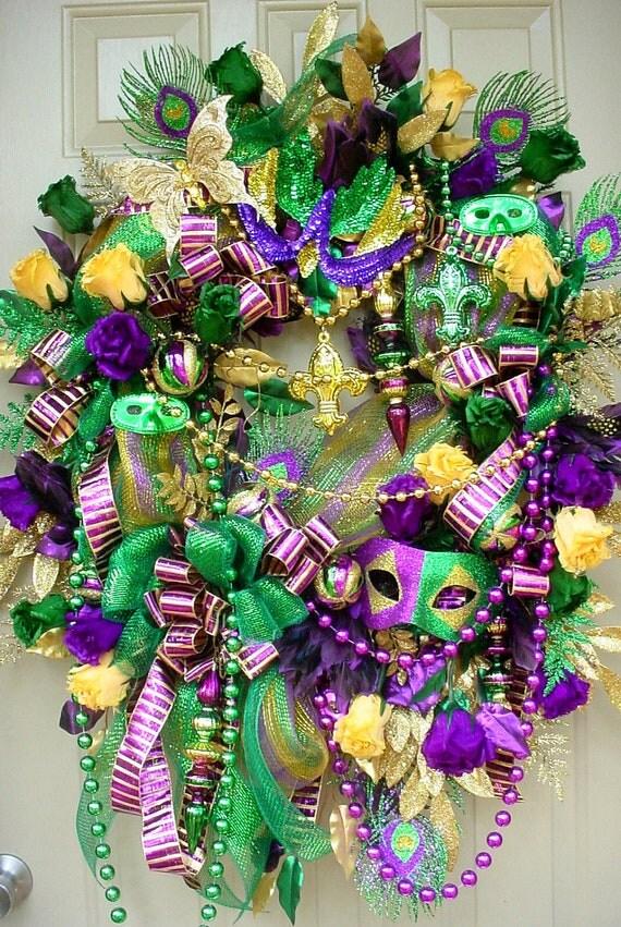 Elegant Mardi Gras Bling-Feathered Roses-FleurDeLis Beads-Fat Tuesday-Deco Mesh Festival Wreath