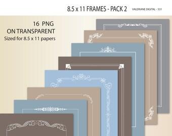 16 Clipart Design Elements for invitations, scrapbooking, photography -   Digital frames - INSTANT DOWNLOAD - Clip Art Designs 531