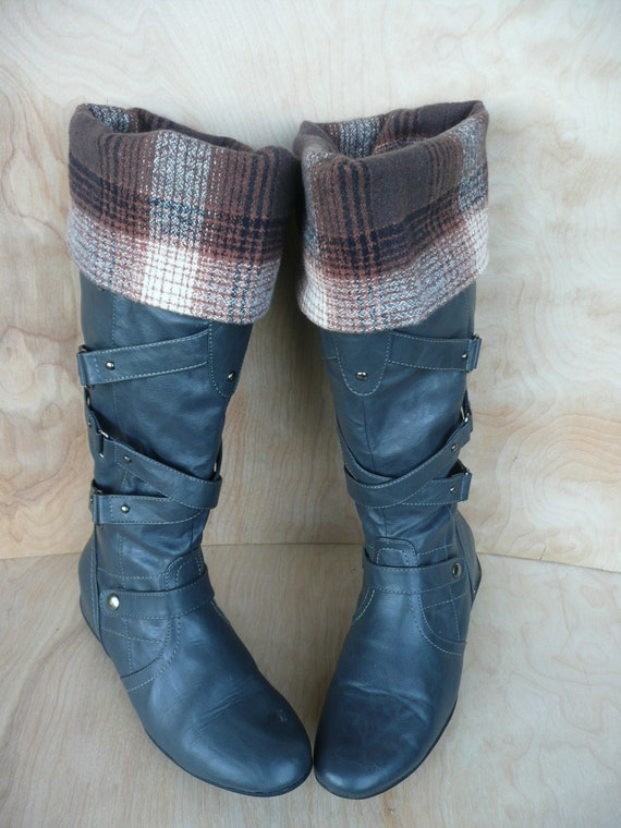 Fashion Boot Cuffs in Cozy Wool Plaid - Browns, Rust, Cream & Gray - Fabric Boot Toppers