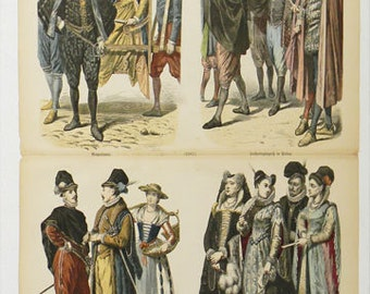 Antique 1880 Hand Colored Engraving GERMAN History of Costume