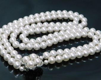 Vintage Double Strand Of Faux Pearls With Decorative Clasp Signed Japan