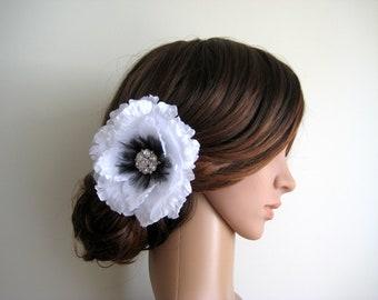 Wedding Bridal White Silk Flower Black Feather Rhinestone Jewel Head Piece Hair Clip Fascinator Accessory