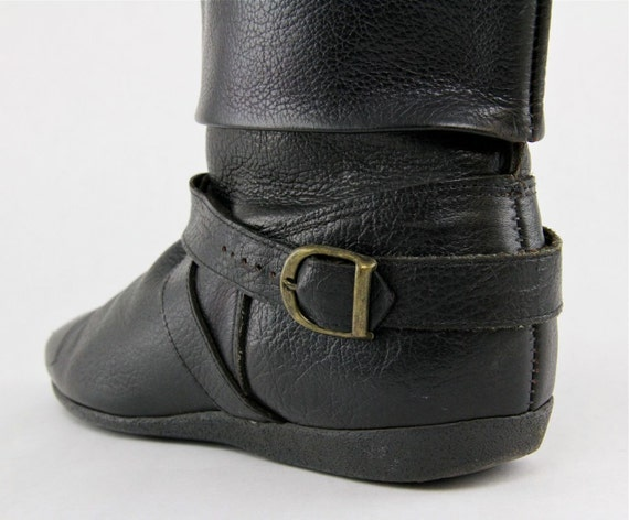 80s Black Ankle Boots, slouchy flat punk rock biker harness boot, pebbled leather, bondage straps, buckles, boho grunge pixie booties